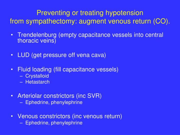 Preventing or treating hypotension