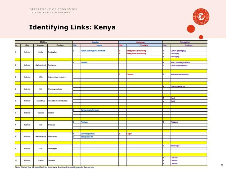Identifying Links: Kenya
