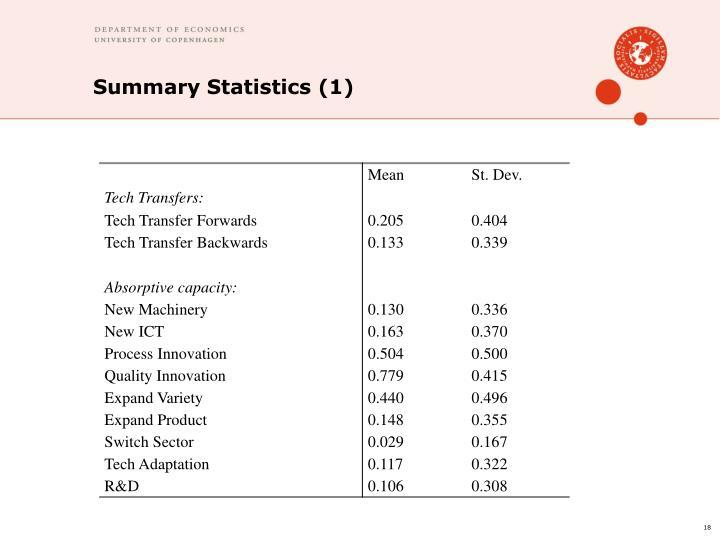 Summary Statistics (1)