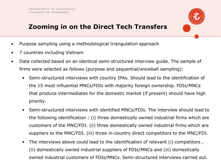 Zooming in on the Direct Tech Transfers