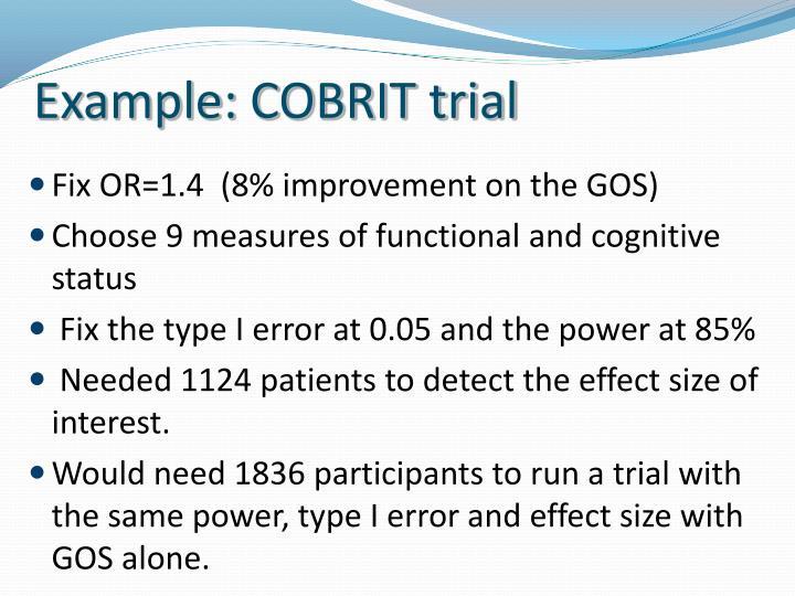 Example: COBRIT trial