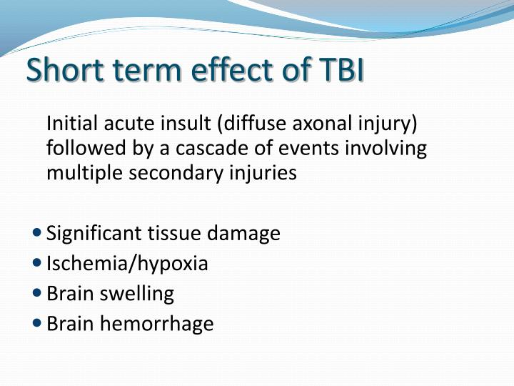 Short term effect of TBI