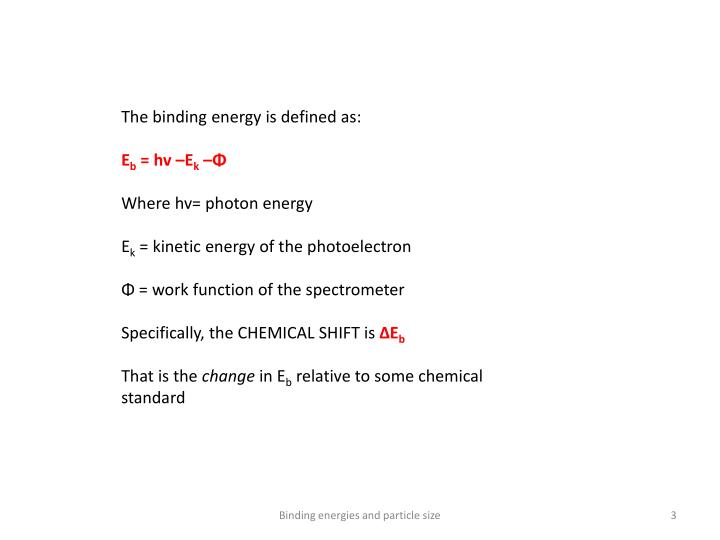 The binding energy is defined as: