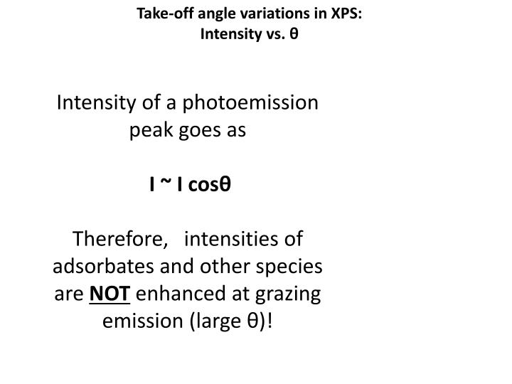 Take-off angle variations in XPS: