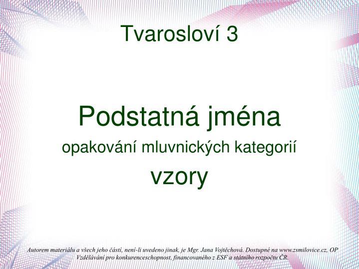 Tvarosloví 3
