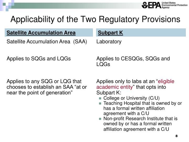 Applicability of the Two Regulatory Provisions