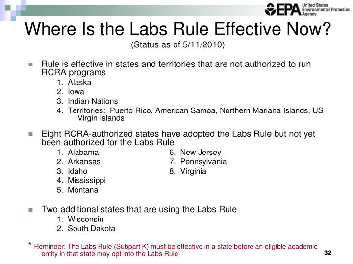 Where Is the Labs Rule Effective Now?