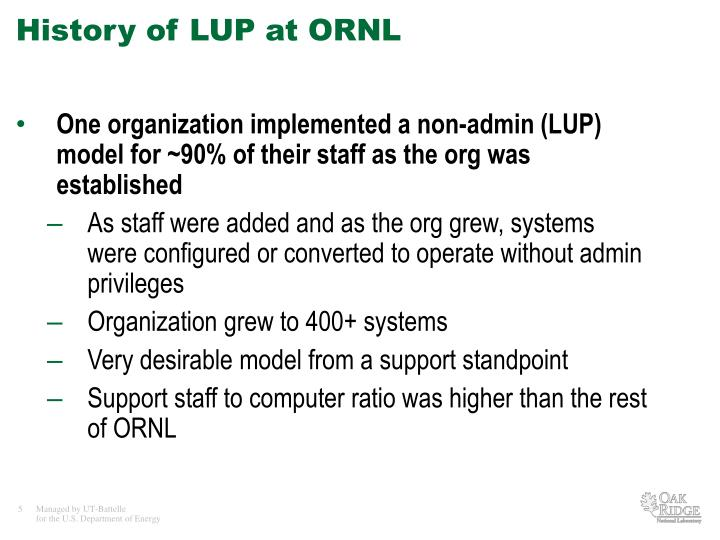 History of LUP at ORNL