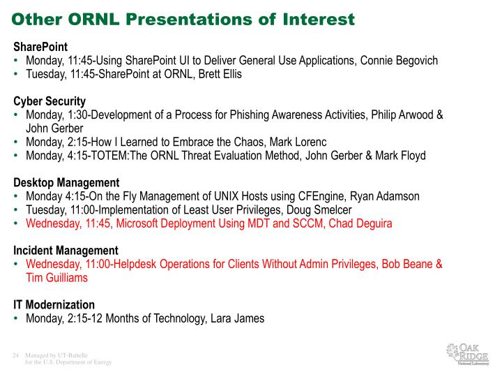 Other ORNL Presentations of Interest