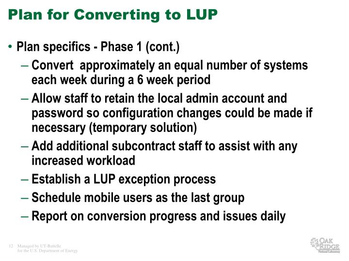 Plan for Converting to LUP