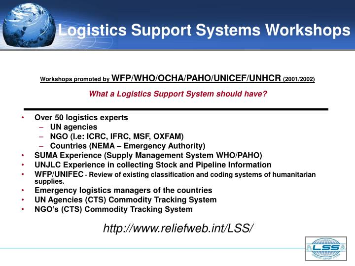 Logistics Support Systems Workshops