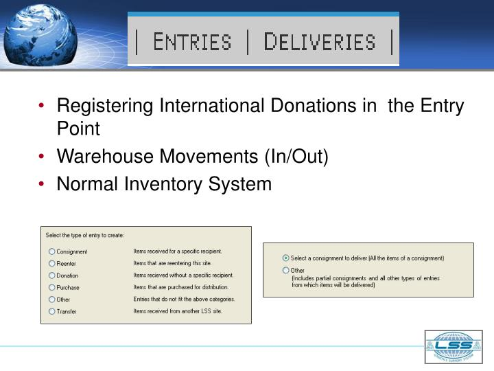 Registering International Donations in  the Entry Point