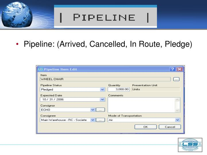 Pipeline: (Arrived, Cancelled, In Route, Pledge)