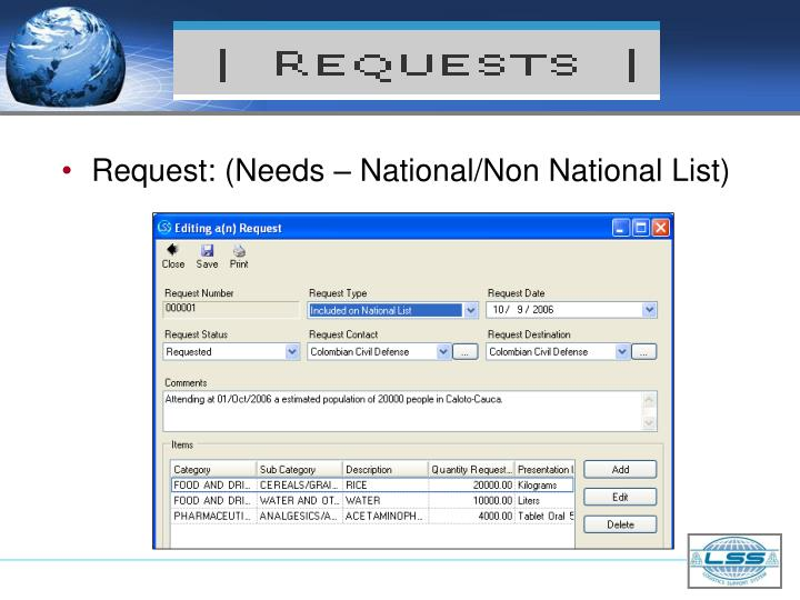 Request: (Needs – National/Non National List)