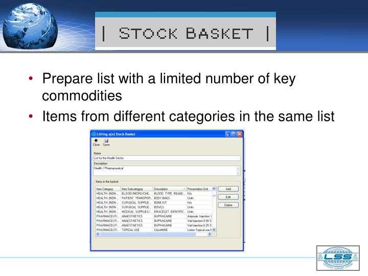 Prepare list with a limited number of key commodities