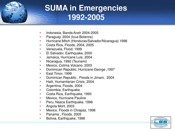SUMA in Emergencies