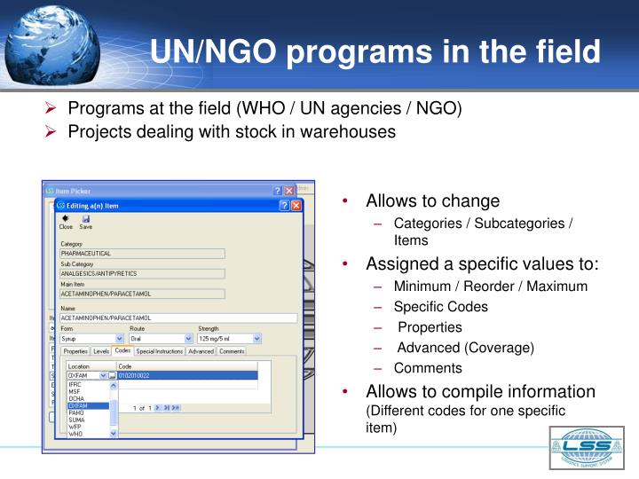 UN/NGO programs in the field