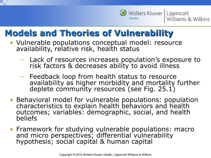 Models and theories of vulnerability