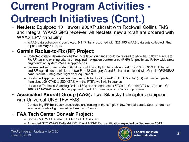 Current Program Activities - Outreach Initiatives (Cont.)