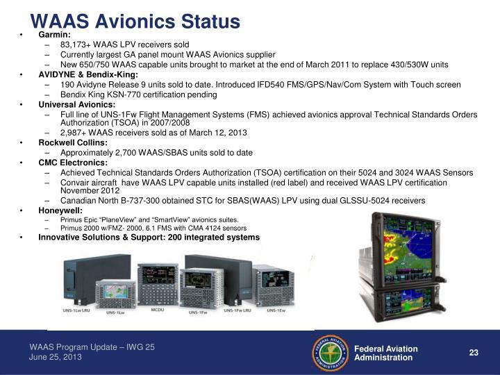 WAAS Avionics Status