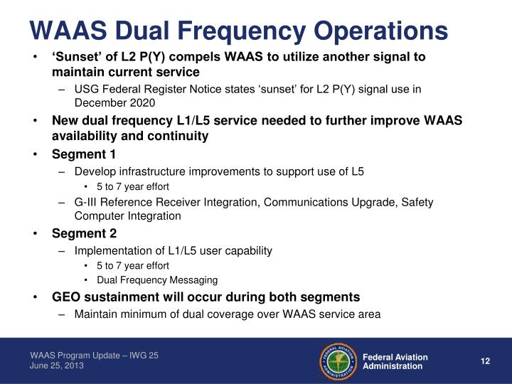 WAAS Dual Frequency Operations