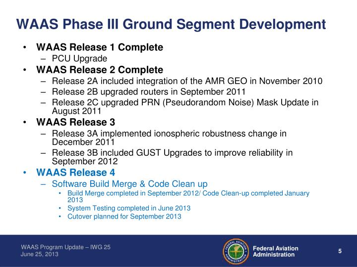 WAAS Phase III Ground Segment Development