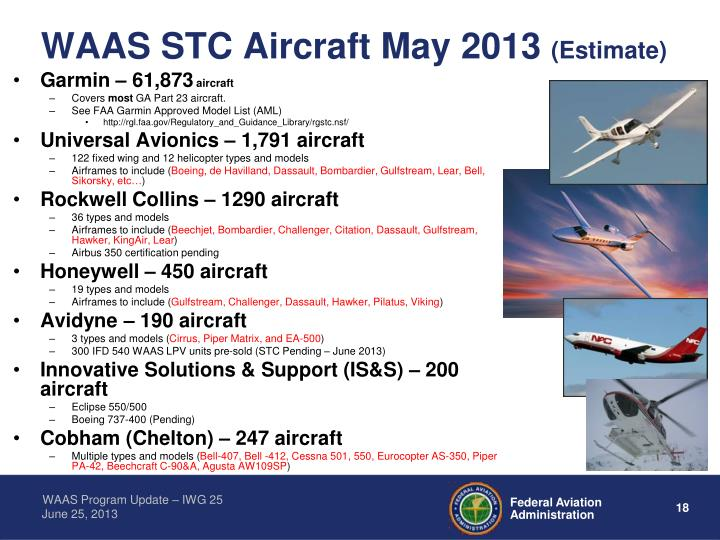 WAAS STC Aircraft May 2013