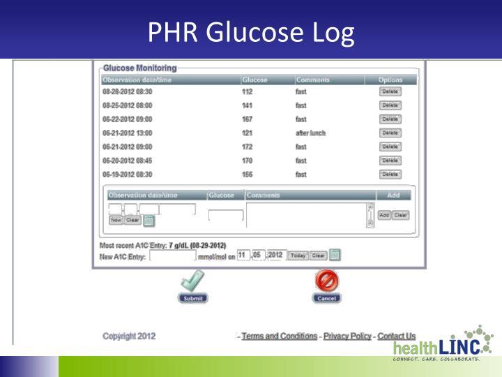 PHR Glucose Log