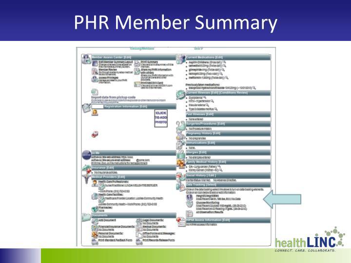 PHR Member Summary