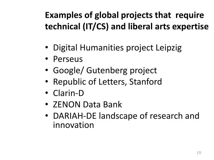 Examples of global projects that  require  technical (IT/CS) and liberal arts expertise