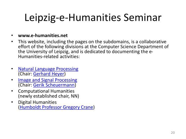 Leipzig-e-Humanities Seminar
