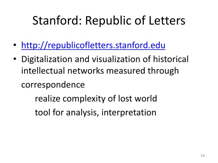 Stanford: Republic of Letters