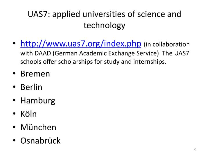 UAS7: applied universities of science and technology