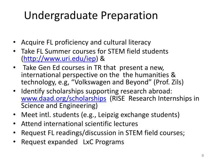 Undergraduate Preparation