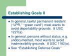 establishing goals ii