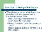exercise 1 immigration status