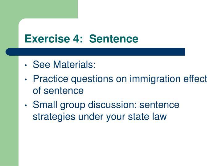Exercise 4:  Sentence