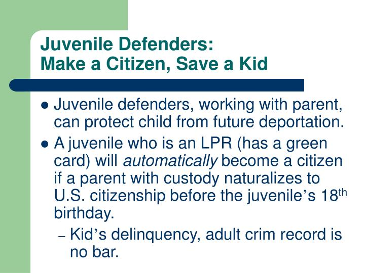 Juvenile Defenders:
