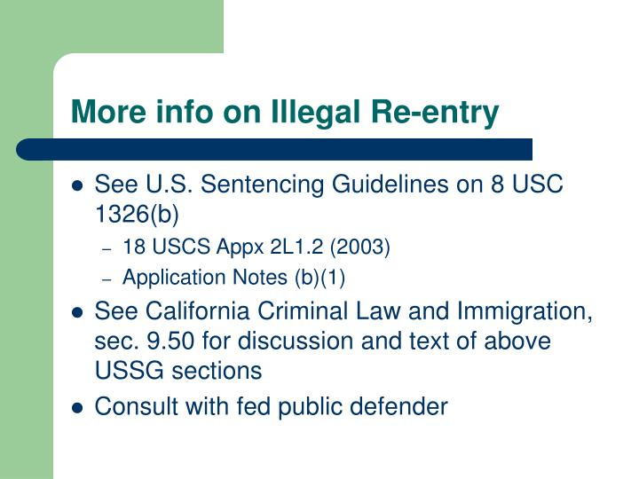 More info on Illegal Re-entry