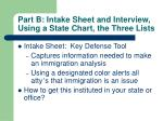 part b intake sheet and interview using a state chart the three lists