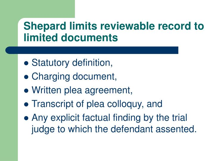 Shepard limits reviewable record to limited documents
