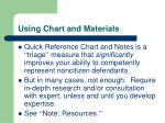 using chart and materials