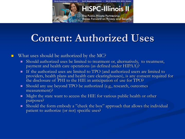 Content: Authorized Uses