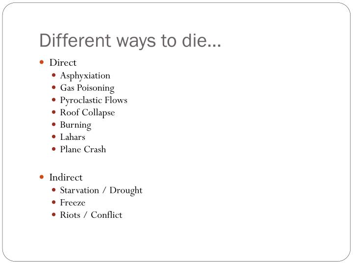 Different ways to die…
