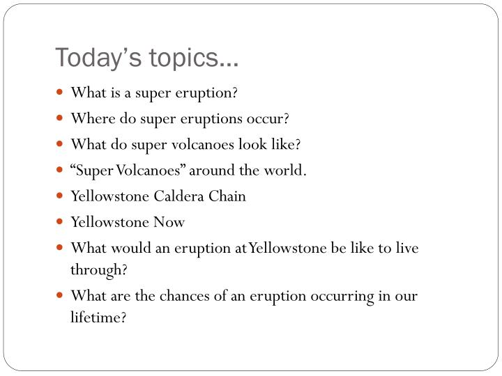 Today's topics…