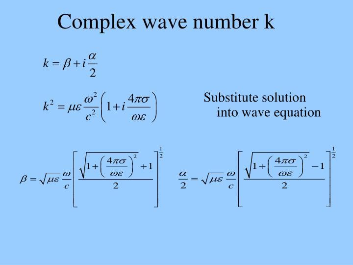 Complex wave number k