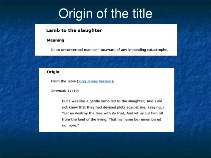 Origin of the title