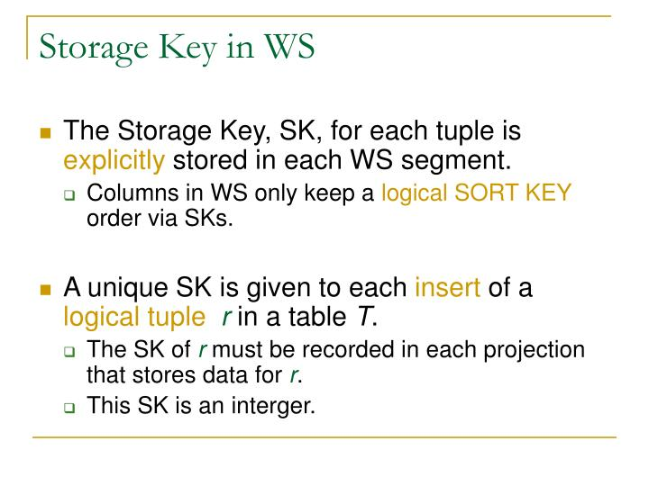 Storage Key in WS