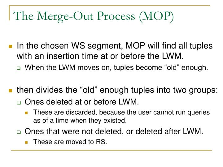 The Merge-Out Process (MOP)