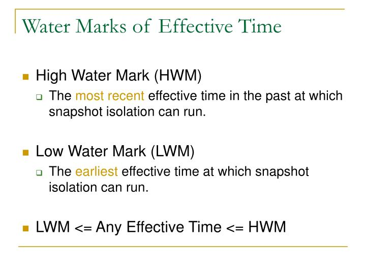 Water Marks of Effective Time